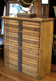 OMG!  My flat files!  OMG! I'd love a full set of printers drawers in an original cabinet.