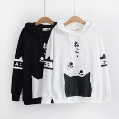 Spring Mori Girl Hooded Sweatshirt Japanese Cute Long Sleeve Kawaii Cat Graphic Ear White Hoodies Leisure Black Pullovers<br /><br />size:<br />Size M bust 98 length /><br />Size L bust 101 length 64 Pullover Outfit, Pullover Hoodie, Fleece Hoodie, Sweater Hoodie, Kawaii Hoodie, Cute Hoodie, Harajuku Mode, Harajuku Fashion, Hoodie Sweatshirts
