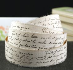 PEEL & STICK - 2 YARDS Stamped French Script Words Muslin Fabric Adhesive Ribbon-for Weddings,Scrapbooking, Gift Wrapping, Decorating. $4.95, via Etsy.