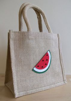 Natural Jute Lunch or Gift Bag - Felt Watermelon Motif