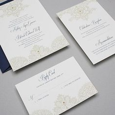 A free, downloadable wedding invitation template inspired by antique lace. Professionally designed by Anna Skye from Download & Print.