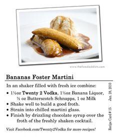 Bananas Foster Martini -, Creme De Banana, Butterscotch Schnapps, Milk, Chocolate Syrup