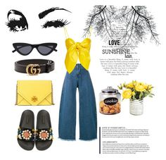 """""""yellow"""" by kenza-sallemi on Polyvore featuring Dolce&Gabbana, Le Specs, Marques'Almeida, Leal Daccarett, Tory Burch and Gucci"""