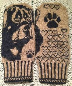 Ravelry: Rottweiler Mittens pattern by Connie H Design free fair isles ravelry Rottweiler Mittens Knitting Charts, Knitting Socks, Knitting Patterns, Crochet Patterns, Wrist Warmers, Hand Warmers, Sweater Mittens, H Design, Recycled Sweaters