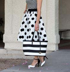 Black and White :: Polka dot skirt and Striped Shirt | via @Glamourzine