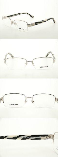 88ee8ea512e5 Fashion Eyewear Clear Glasses 179248: New Authentic Versace 1185B 1000  Silver Stripe 53Mm Frames Eyeglasses