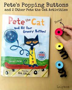 3 Pete the Cat Groovy Buttons Book Extension Ideas on Lalymom.com - Popping Buttons Activity- my kids love this book, how fun!