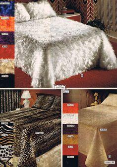 funkadelic shag and animal print bedspreads from Wards, 1974 Vintage Magazines, Vintage Ads, Bedroom Vintage, Vintage Bedding, Vintage Sheets, Vintage Linen, 1970s Decor, Deco Retro, Furniture Ads