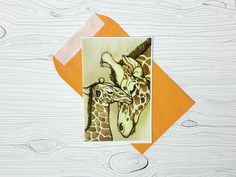 Greeting Card ~ Giraffe Mom and Child ~ 6x9 Blank Postcard, Birthday Gift from Family, Present for Animal Lover, Art by Sarah Jane Peltier by PaintRainbowPrints on Etsy