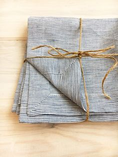 Linen Napkins Set of six white and blue striped by Linenbeeshop