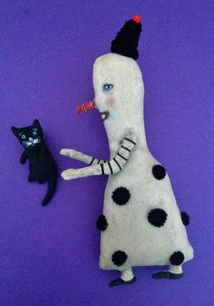 weird art doll  sandy mastroni, clown art, cat art,  circus carnival ,black cat art doll,bizarre odd doll