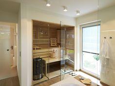 Edition 425 WOHNIDEE-Haus - Familienhaus zum Wohlfühlen Sauna Steam Room, Sauna Room, Bathroom Spa, Bathroom Layout, Baths Interior, Home Spa, Dream Rooms, Ideal Home, House Plans