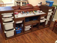LEGO Storage Unit | Lego storage table - 2 trofast storage units from Ikea, one 3/4 board ...