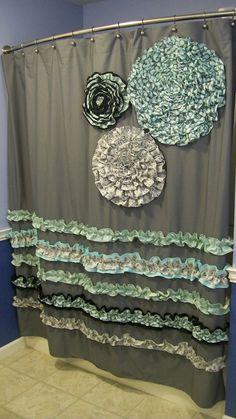 Shower Curtain Custom Made Ruffles and Flowers Designer Fabric Gray, Black, White, Light Teal/Aqua Stunning and Elegant. $149.00, via Etsy.