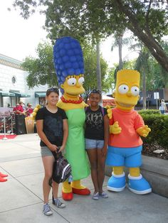My daughters with Marge & Bart Simpson