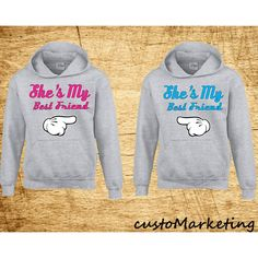 crazydaisyworld She's My Bestfriend Hoodies Gift for Her Best Friend... ($40) ❤ liked on Polyvore featuring black, hoodies, sweatshirts and women's clothing
