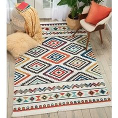 Nourison Tribal Decor Multicolor/White Aztec Rug - x (White/Multicolor - x (Polyester, Geometric) Tribal Theme, Tribal Decor, Area Rug Sizes, Area Rugs, Aztec Rug, Aztec Prints, Diy Carpet, Cheap Carpet, White Area Rug