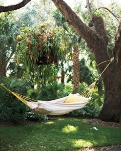 Roomy Hammock made from a six-by-nine-foot drop cloth, grommets, rope, and O-rings. (Toss a few pillows on the hammock and you might stay in it all weekend.)