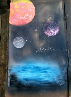 My spray paint space art.  :)