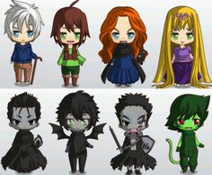 Jack Frost, Hiccup, Merida, Rapunzel.  Bottom - Pitch Black, Toothless, Mordue, Pasquale