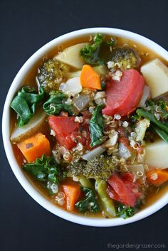 The Garden Grazer: Nutrient-Packed Quinoa, Potato, and Greens Soup