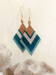 Brick Stitch with 11/0 Miyuki Seed Beads used to make these Earrings