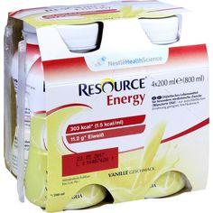 RESOURCE Energy Vanille:   Packungsinhalt: 4X200 ml Flüssigkeit PZN: 00183118 Hersteller: GHD Direkt II GmbH Vertriebslinie Nestle Preis:…