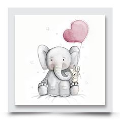 ELEPHANT, BUNNY & BALLOON nursery artwork for a girl or boys room. This cute watercolour wall art works on its own or will be complimented beautifully by any other of Madi & Cleo's artwork within its collection. You are also able to customise this design with your child's name or change the balloon colour. Customise and order your artwork today at http://www.madicleo.com/collections/vendors?q=Eli%20%26%20Bunny%20Collection