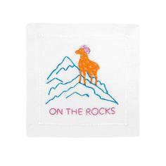 """Embroidered """"on the rocks"""" coasters / cocktail napkins, via @sarahsarna."""