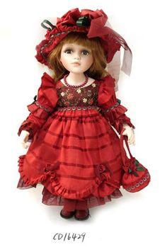 Porcelain Doll in red (Porcelain Doll) Victorian Dolls, Antique Dolls, Vintage Dolls, Madame Alexander, Pretty Dolls, Beautiful Dolls, Bjd, Chibi, Porcelain Dolls For Sale