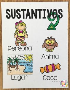 Sustantivos - Nouns in Spanish Spanish Teaching Resources, Spanish Lessons, Kids Learning Activities, Hands On Activities, Noun Anchor Charts, Bilingual Education, Dual Language, Reading, Classroom Ideas