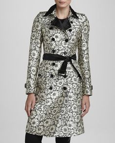 Lace-Jacquard Trenchcoat by Burberry London at Neiman Marcus.