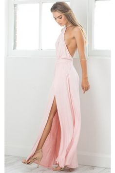 974086b5e1 Blush High Neck Halter Maxi Dress