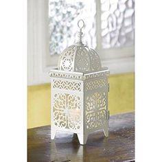 Amazon.com: Gifts & Decor White Scrollwork Candleholder Lantern: Home & Kitchen