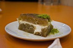 ekmek kadayif is sweet and creamy! Turkish Dessert, Turkish Sweets, Turkish Recipes, Desserts, Food, Tailgate Desserts, Deserts, Essen, Postres