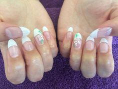 Acrylic Nail Extensions Rounded White French Tip With Flower Diamante Art On Ring Fingers