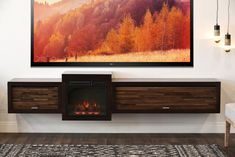 Floating Fireplace Wall Mount TV Stand - ECO GEO Espresso - Woodwaves Tv Console With Fireplace, Floating Fireplace, Fireplace Wall, Fireplace Design, Modern Electric Fireplace, Electric Fireplace Tv Stand, Wall Mount Tv Stand, Ceiling Fans Without Lights, Fireplace Pictures