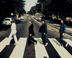 Rare photo of the Beatles walking other way on Abbey Road