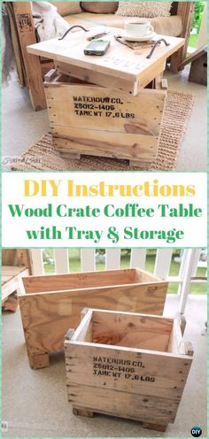 DIY Wood Crate Coffee Table with Tray& Storage Instructions - DIY Wood Crate Furniture Ideas Projects