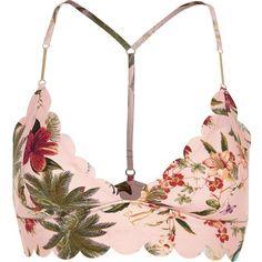 Pink floral scallop triangle bikini top ❤ liked on Polyvore featuring swimwear, bikinis, bikini tops, pink bikini top, racerback swim top, swimming bikini, swim suit tops and pink triangle bikini