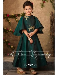 Pine green ready made kids gown. Fabric - Satin with Can Can inner. Gown length is approximately Accessories shown in the image is not the part of standard product. Frocks For Girls, Gowns For Girls, Girls Formal Dresses, Dresses Kids Girl, Kids Outfits, Baby Dresses, Baby Frocks Designs, Kids Frocks Design, Kids Blouse Designs