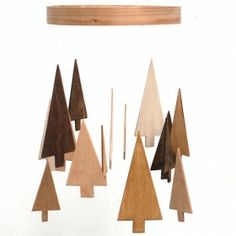 Wooden Tree Mobile - Pine Tree Mobile - Wood Mobile