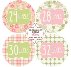 Pregnancy Belly Stickers, Photo Prop, Baby Shower Gift - Elizabeth. $9.00, via Etsy.