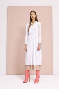White Midi-Collared Dress and Pink Leather Booties for Agnona Resort 2017.