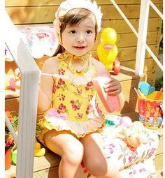 Vintage Inspired Infant Toddler Girl Retro Swimwear Yellow Cherry & Strawberry Print With Cap