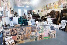 A view of the printshop and wood block counter at justAjar Design Press.