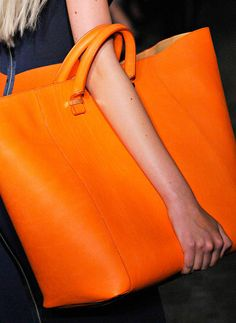 Victoria Beckham orange handbag.