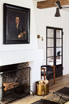 Home Tour: European Elegance in this LA Abode - Apartment34 Elegant Home Decor, Elegant Homes, Diy Home Decor, Modern Decor, Fireplace Design, Fireplace Mantle, Custom Fireplace, Mantel Styling, European Home Decor