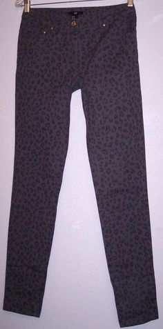 H & M Pants 8 New Gray Leopard Print Stretch Denim Women's Sexy Skinny Jeans NWT #HM #CasualPants