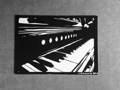 Piano Keys ACEO  Handcut Paper Art  Van Gogh by VibrantShadows, $65.00
